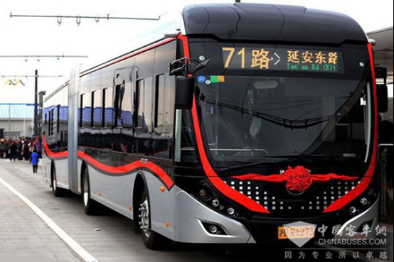 Yutong 18-meter Double Energy Powered Trolley Went into Operation in Shanghai