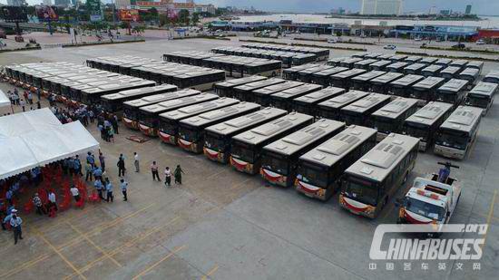 China donates 98 Yutong buses to Cambodia