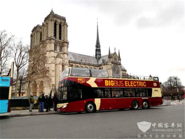 Ankai Electric Double-decker Tour Bus Starts Operation in Paris