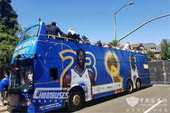 Ankai Double-decker Tour Bus Attends 2018 NBA Champions Parade