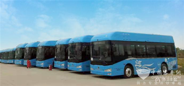 186 Units Golden Dragon Fuel Cell City Buses Arrive in Foshan for Operation