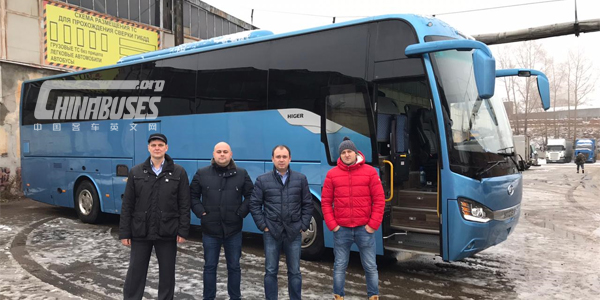 China Higer Bus KLQ6128 Held Tour Exhibition in Russia