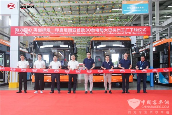 BYD Hangzhou Rolls Out 30 Units Electric Buses for Indonesia