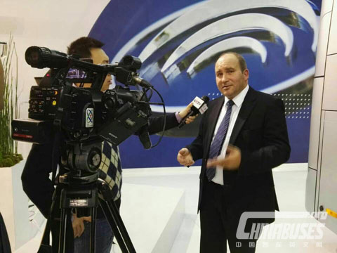 Pierre, Distributor of Yutong Buses in France, being Interviewed by CCTV at Busworld Kortrijk 2015